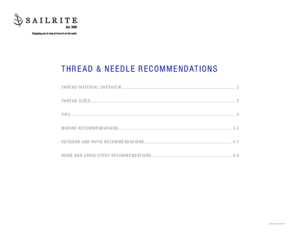 PDF) Thread and Needle Recommendations | Jeff Lloyd
