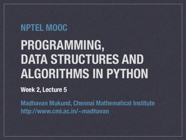 PDF) PROGRAMMING, DATA STRUCTURES AND ALGORITHMS IN PYTHON NPTEL MOOC |  Anwar K Backer - Academia.edu