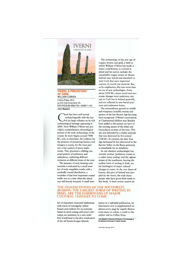 Review Of William Obrien Iverni A Prehistory Of West Cork 2012