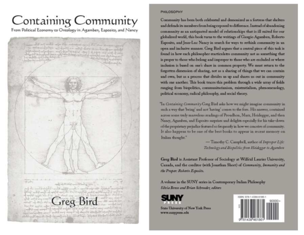 Containing Community: From Political Economy to Ontology in Agamben, Esposito, and Nancy