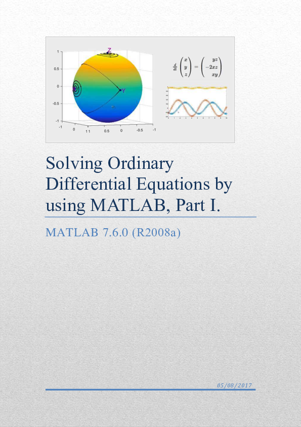 PDF) Solving Ordinary Differential Equations by using MATLAB