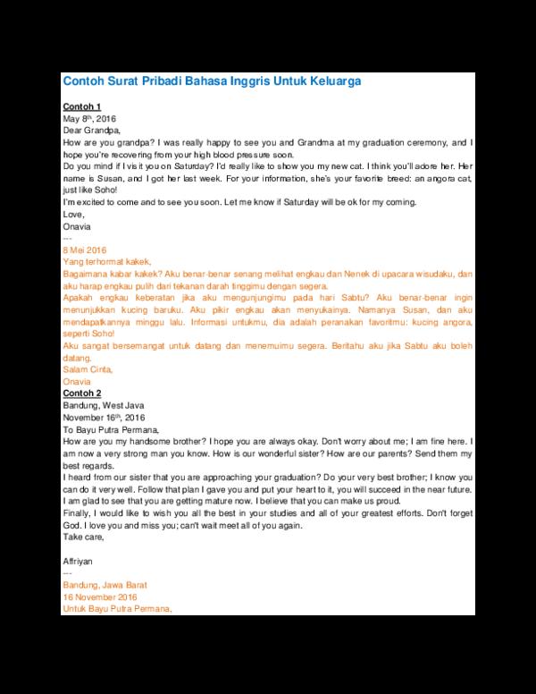 Doc Contoh Surat Pribadi Bahasa Inggris Untuk Keluarga