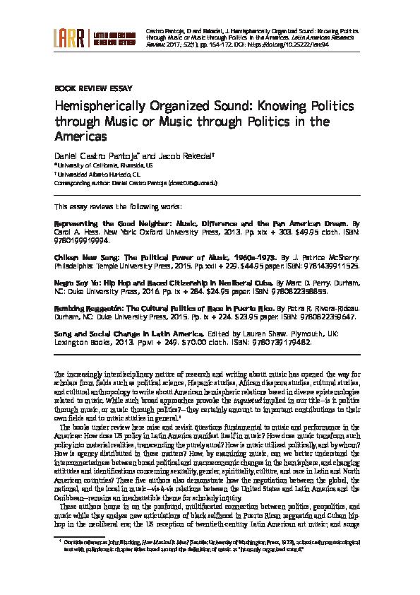 PDF) Hemispherically Organized Sound: Knowing Politics through Music