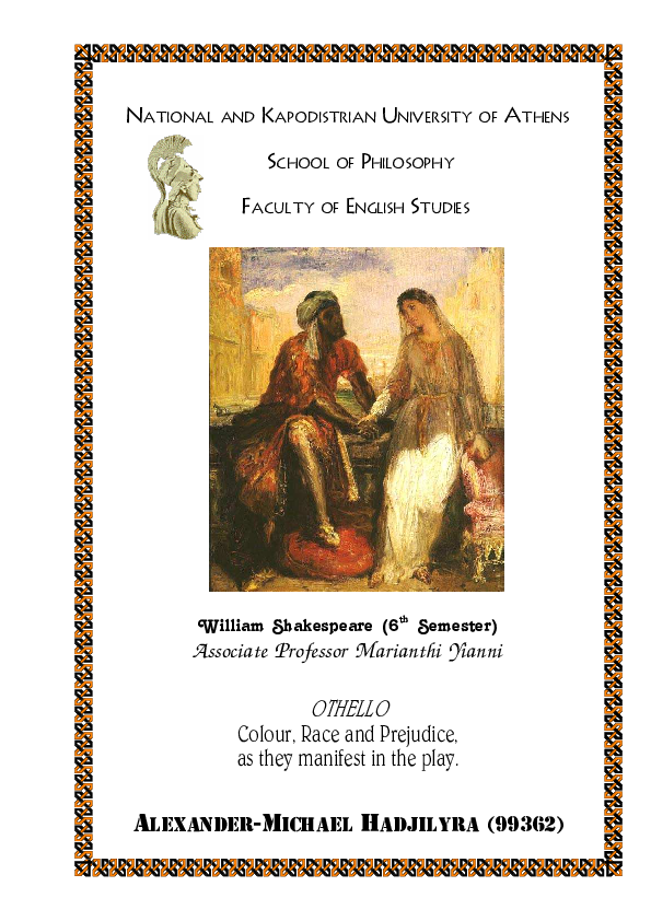 PDF) Othello: Colour, race and prejudice, as they manifest in the