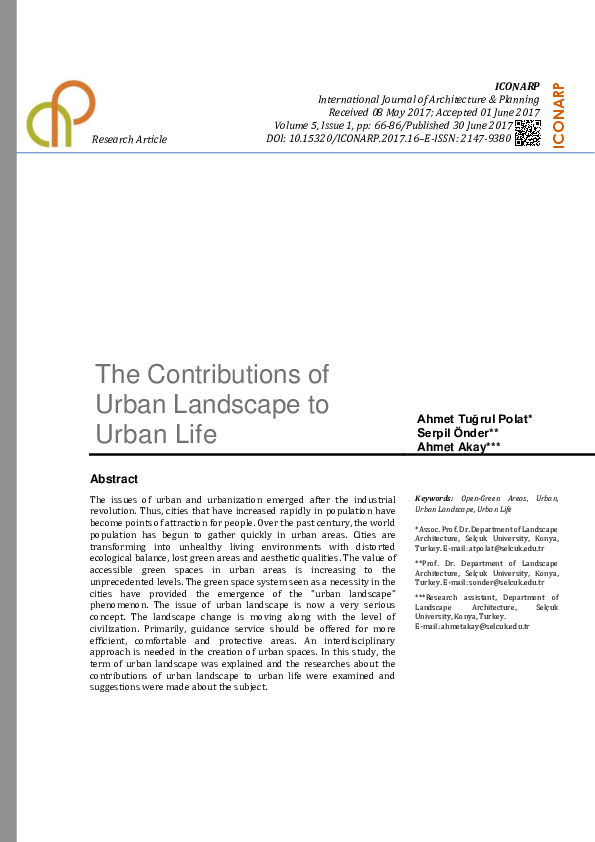 PDF) The Contributions of Urban Landscape to Urban Life