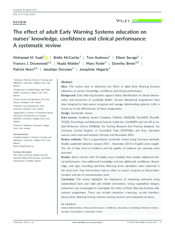 PDF) The effect of adult Early Warning Systems education on nurses