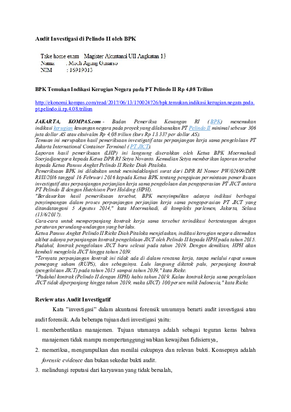 Pdf Audit Investigasi Di Pelindo Ii Oleh Bpk Arindra Arindra Academia Edu