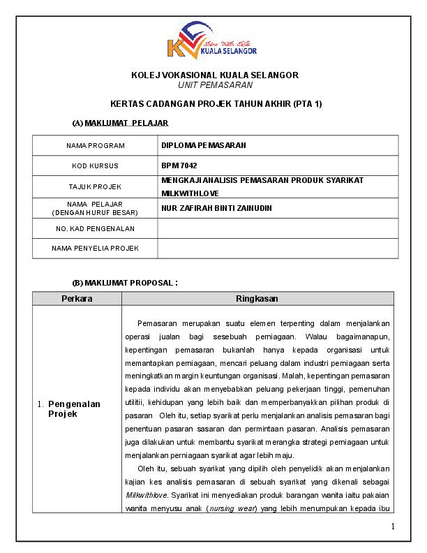 Contoh Projek Tahun Akhir Research Papers Academia Edu