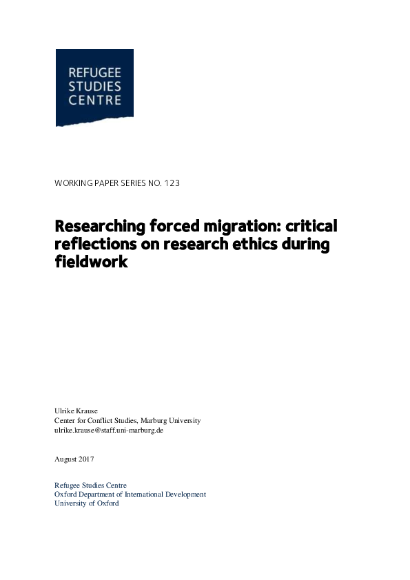 PDF) Researching forced migration: critical reflections on