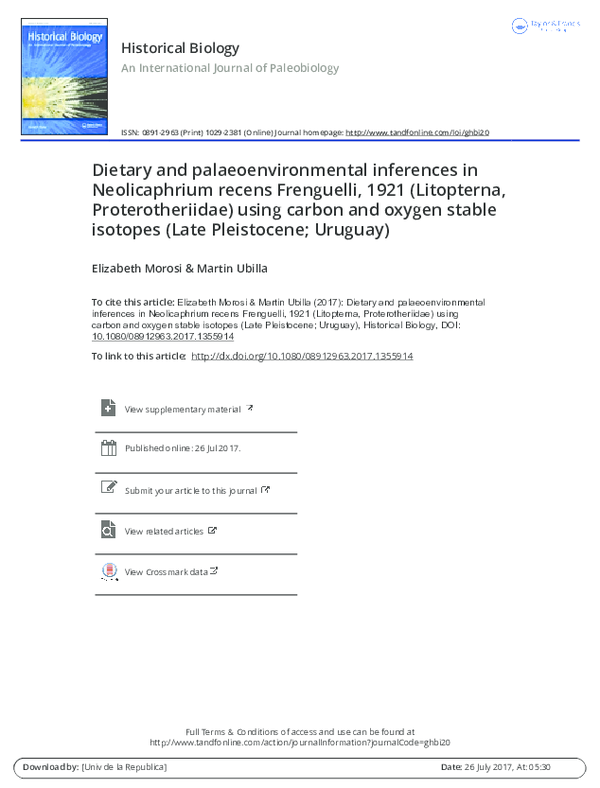 PDF) Dietary and palaeoenvironmental inferences in