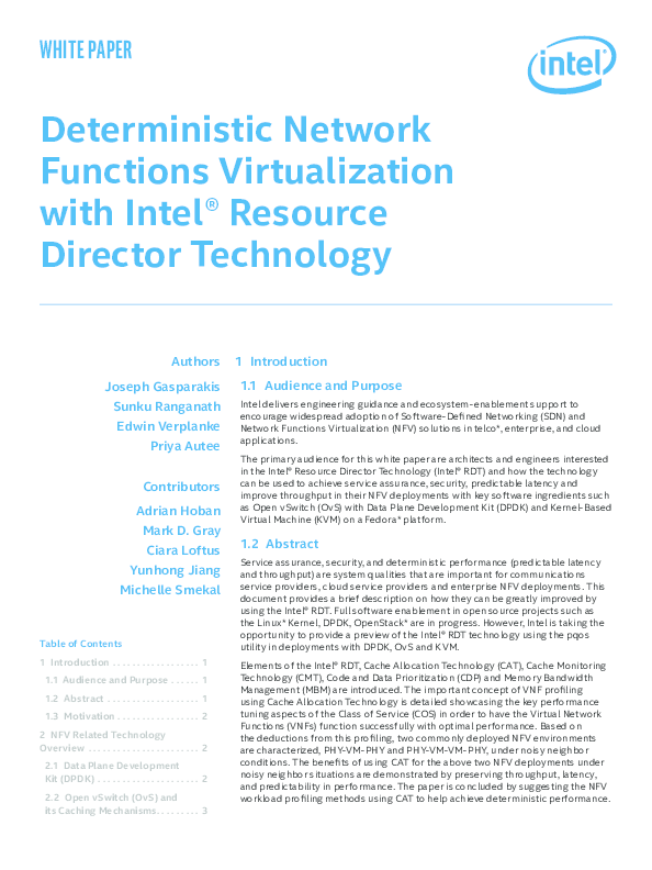 PDF) Deterministic NFV with Intel Resource Director Technology