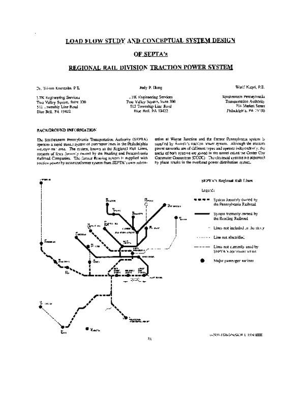 PDF) Load flow study and conceptual system design of SEPTA's