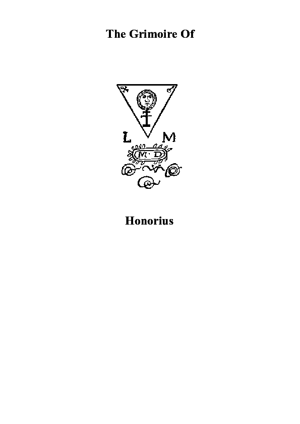 PDF) The Grimoire Of Honorius   Andrew Harkless - Academia edu