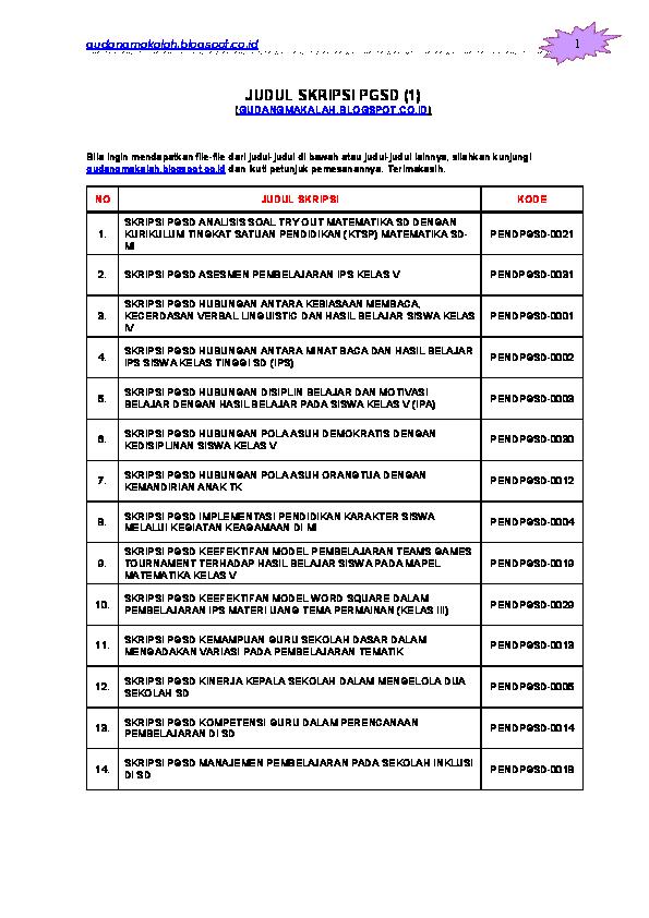 Contoh Skripsi Non Ptk Contoh Soal Dan Materi Pelajaran 10