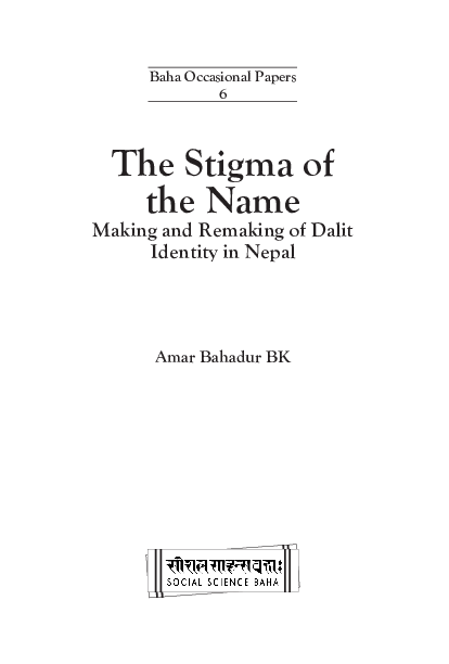 PDF) The Stigma of the Name: Making and Remaking of Dalit Identity