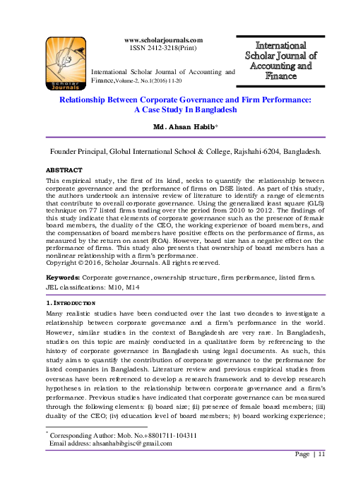 PDF) Relationship Between Corporate Governance and Firm