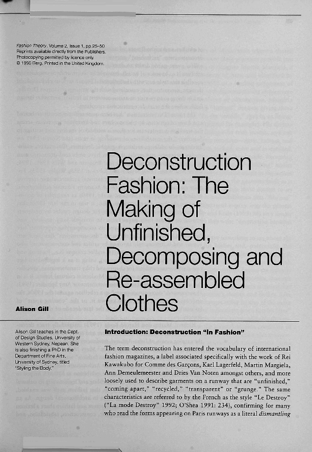 190fc2999df PDF) Deconstruction Fashion  The Making of Unfinished