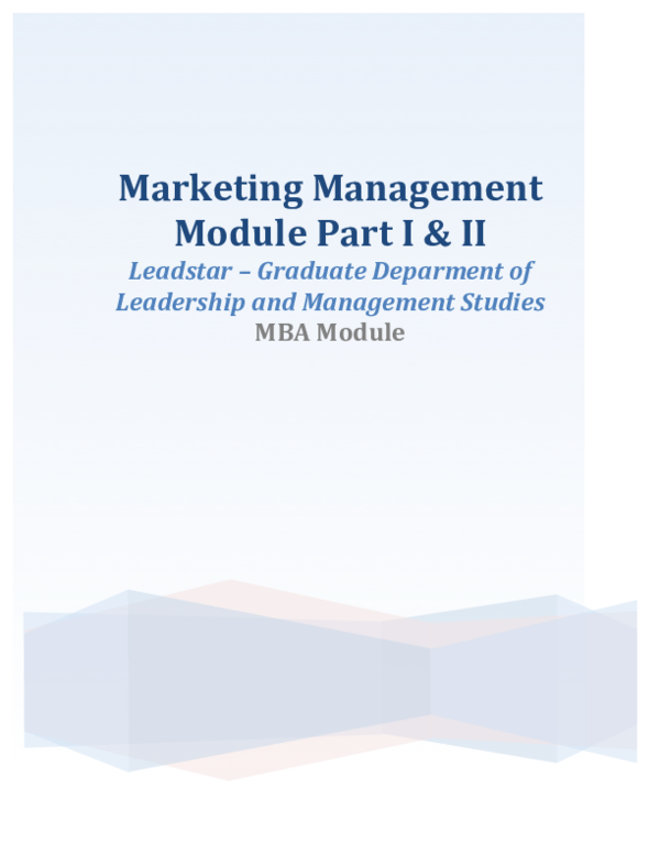 PDF) Marketing Management Module Part I & II Leadstar