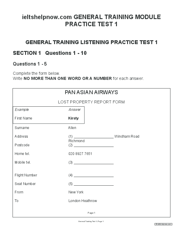 PDF) GENERAL TRAINING LISTENING PRACTICE TEST 1 SECTION 1 Questions