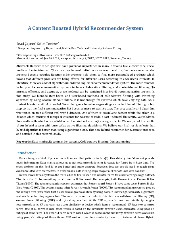 PDF) A Content Boosted Hybrid Recommender System   Seval