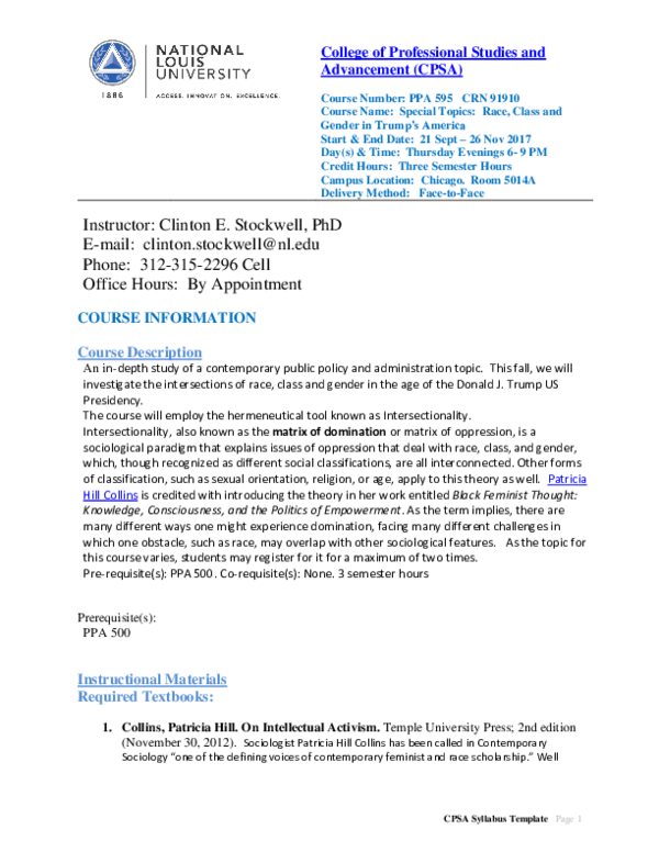 PDF) PPA 595: Special Topics: Intersectionality: The