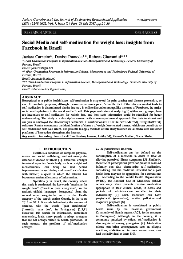 PDF) Social Media and self-medication for weight loss