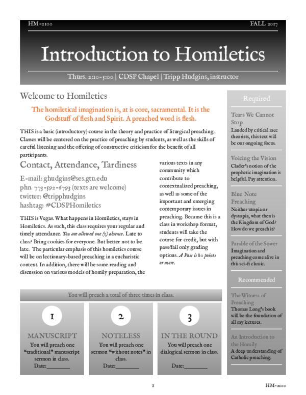 PDF) Fall 2017 Introduction to Homiletics Syllabus REVISED | Tripp