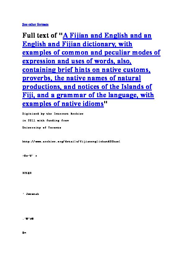 PDF) Fijian English Dictionary THE LATE DAVID HAZLEWOOD | booker