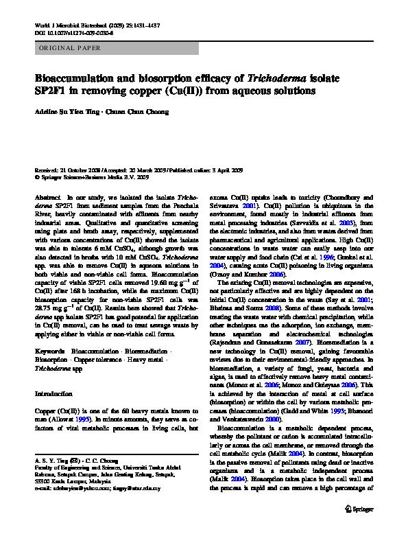 PDF) Bioaccumulation and biosorption efficacy of Trichoderma