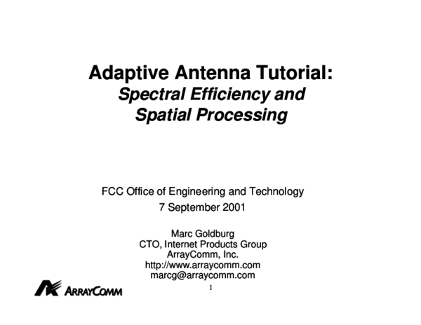 PDF) Adaptive Antenna Tutorial: Spectral Efficiency and Spatial
