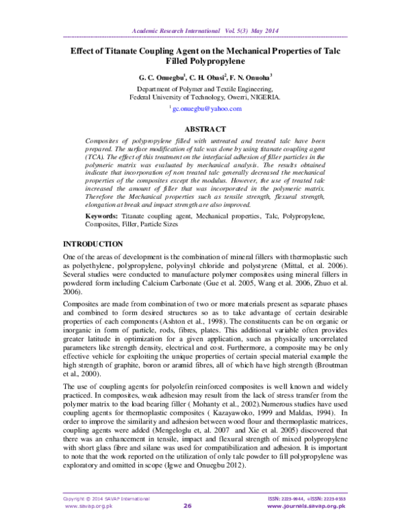 PDF) Effect of Titanate Coupling Agent on the Mechanical