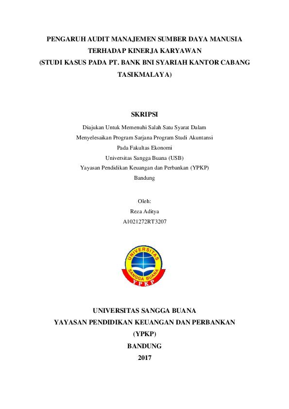 Pdf Pengaruh Audit Manajemen Sumber Daya Manusia Reza Aditya Academia Edu