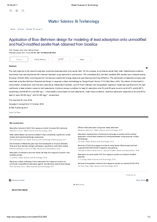 Pdf Application Of Box Behnken Design For Modeling Of Lead Adsorption Onto Unmodified And Nacl Modified Zeolite Naa Obtained From Biosilica Pinar Terzioglu Academia Edu