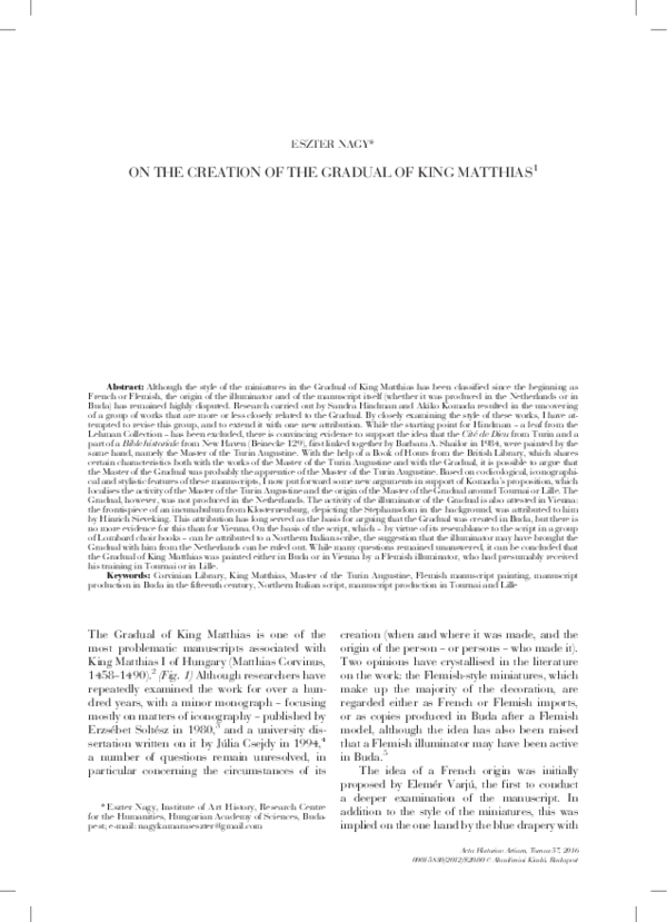 a08407ff75 PDF) On the Creation of the Gradual of King Matthias, in Acta ...