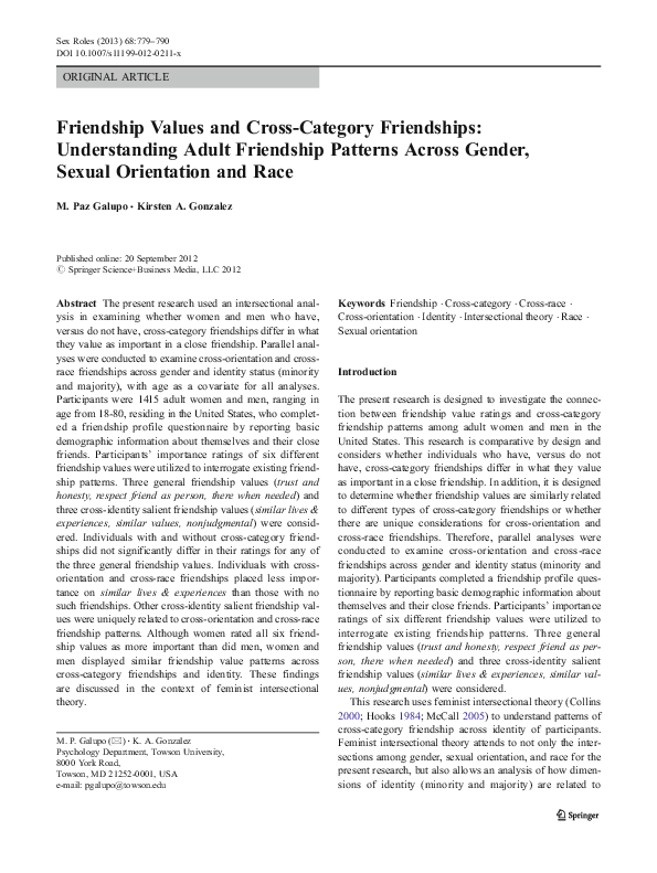 PDF) Friendship Values and Cross-Category Friendships