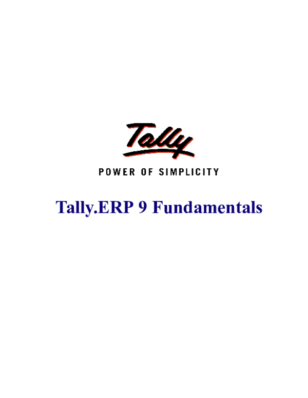 PDF) Tally ERP 9 Fundamentals | Raymond Frank - Academia edu