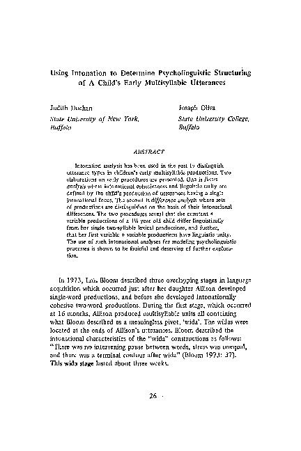 PDF) Using intonation to determine psycholinguistic
