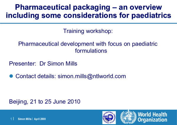 PDF) Simon Mills | Pharmaceutical packaging – an overview including