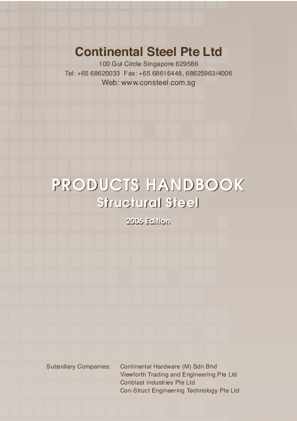 PDF) Continental Steel Pte Ltd PRODUCTS HANDBOOK Structural Steel