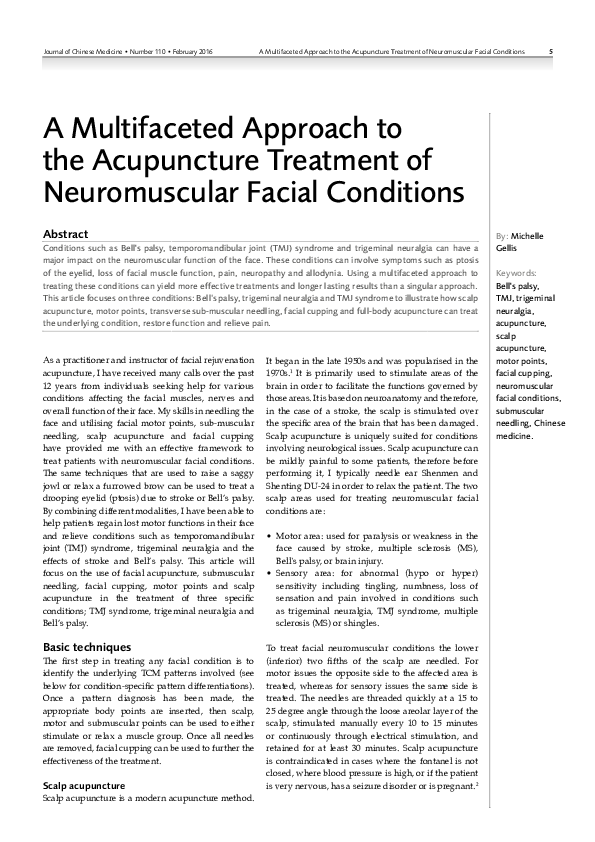 PDF) 5 A Multifaceted Approach to the Acupuncture Treatment of