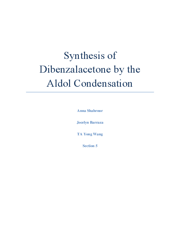 synthesis of dibenzalacetone by aldol condensation mechanism