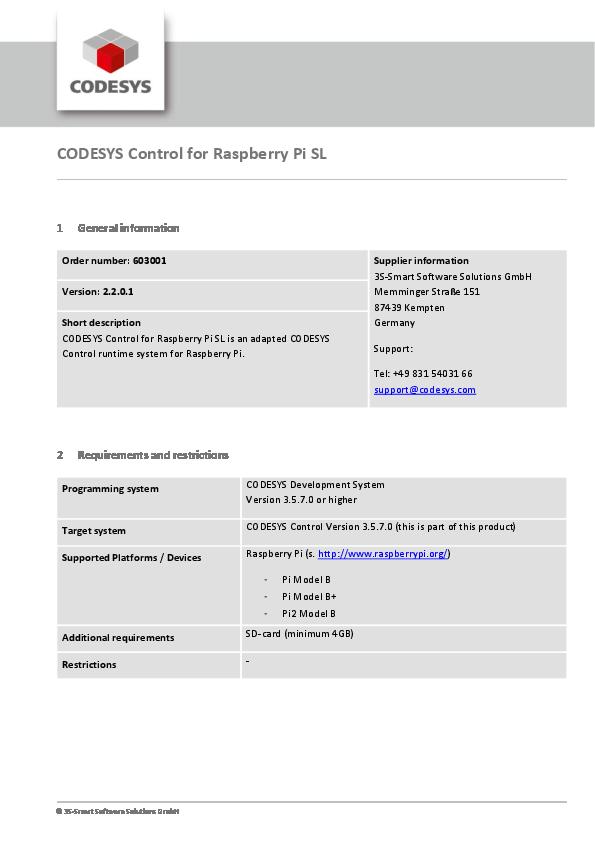 PDF) CODESYS Control for Raspberry Pi SL 1 General information | Msn