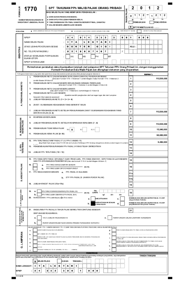 Xls Download Formulir 1770 Spt Tahunan Wajib Pajak Format Excel Wisnu Wardhani Academia Edu