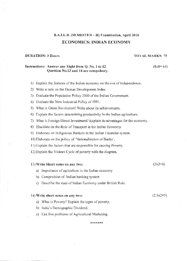 PDF) BA LLB (SEMESTER II)ECONOMICS INDIAN ECONOMY | Ashley Dias