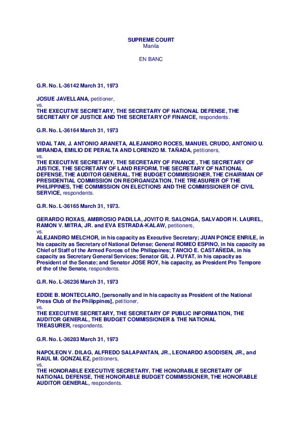 Pdf Javellana Vs Executive Secretary Secretary Christian Legaspi Academia Edu