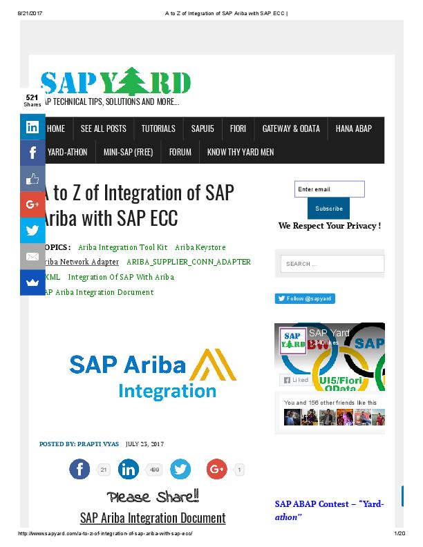 PDF) A to Z of Integration of SAP Ariba with SAP ECC | Raju