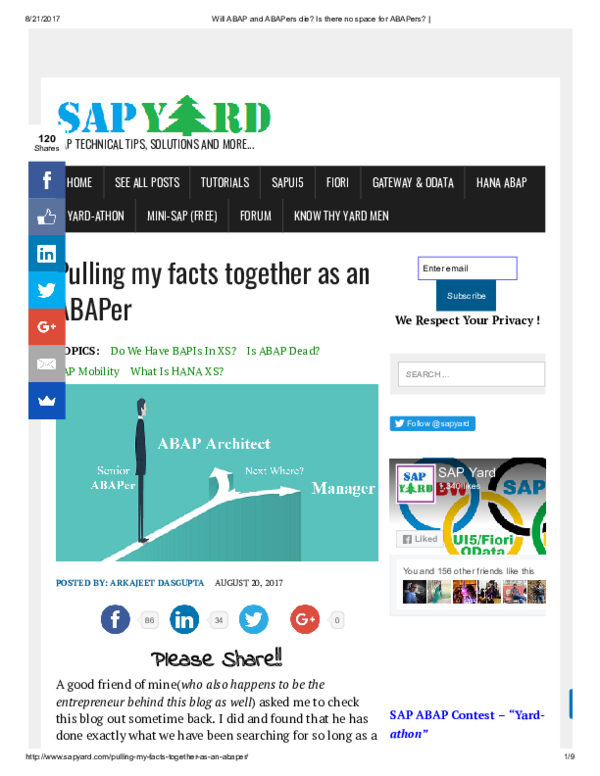 PDF) Will SAP ABAP & ABAPers Die? | Raju Shrestha - Academia edu