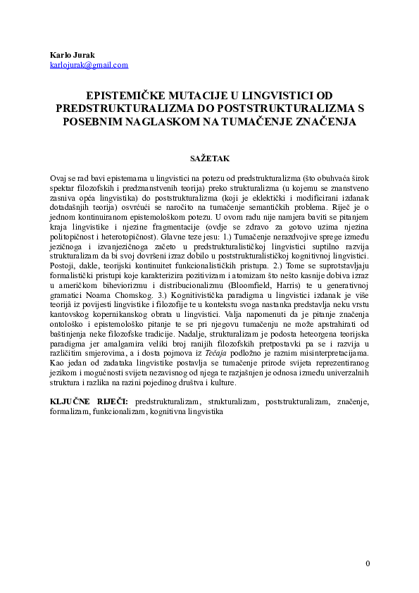 DOC) Epistemičke mutacije u lingvistici od
