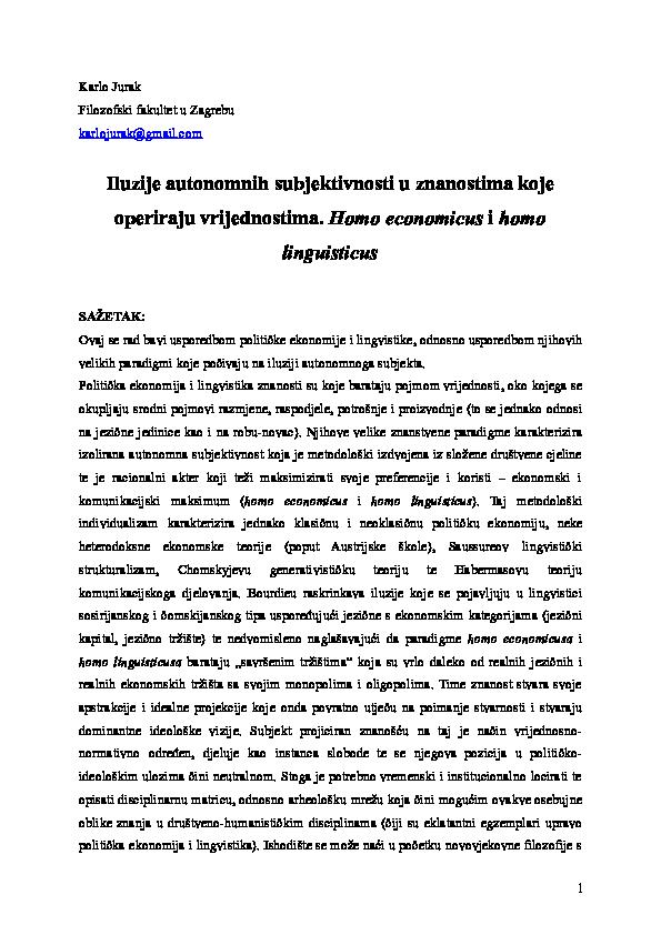 DOC) Iluzije autonomnih subjektivnosti u znanostima koje