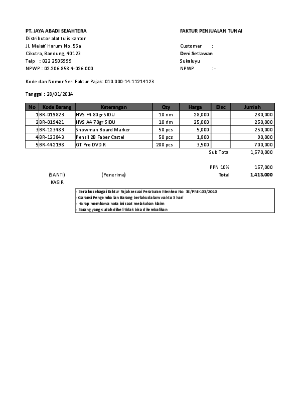 Xls Contoh Faktur Penjualan Tunai Zulkifli Zain